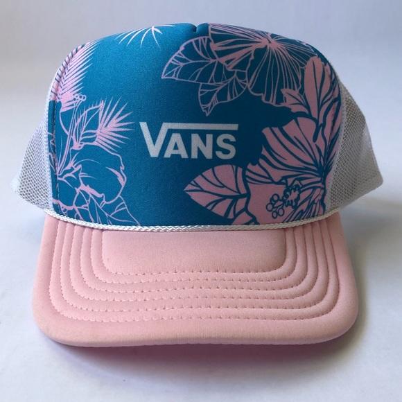 78a0a9f9 Vans Accessories | Pink Floral Hawaiian Trucker Hat Snapback New ...